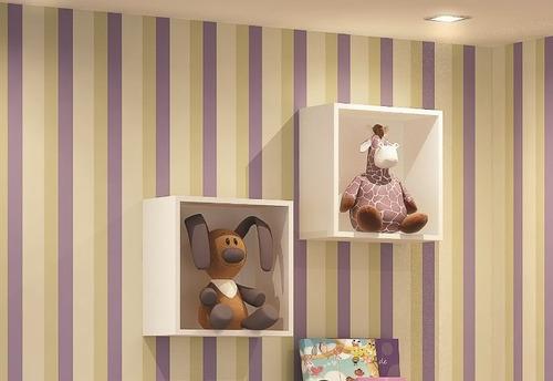 kit 02 nicho painel decorativo 31x31x15 infantil cubo bebê