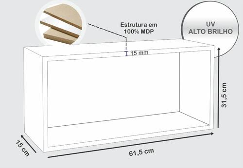 kit 02 nichos retangular decorativo 61x31cm branco optimize