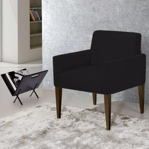 kit 02 poltrona decorativa sala quarto lais suede preto