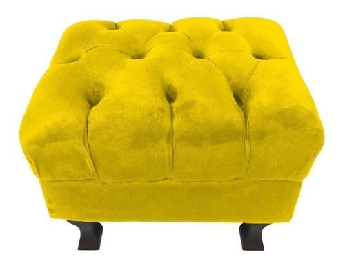 kit 02 puff decorativo retrô pés luís xv capitonê amarelo