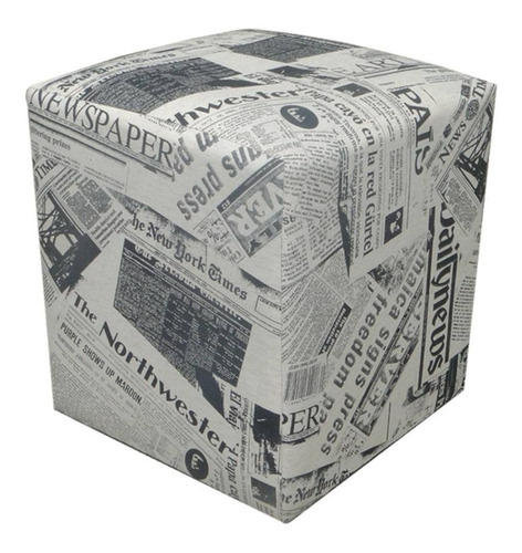 kit 02 puff puf dado quadrado decorativo jornal closset sala