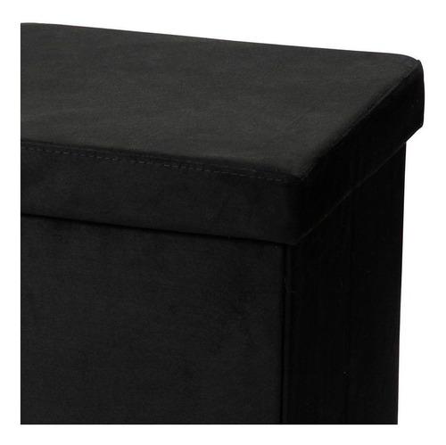 kit 02 puffs baú desmontável suede preto 38x38 - lyam decor
