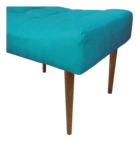 kit 02 puffs decorativo requinte capitonê suede azul tiffany