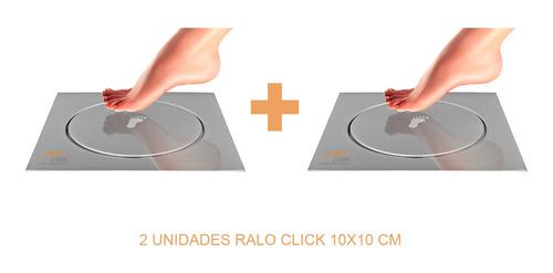 kit 02 ralo click inteligente para piso 10 cm x 10 cm