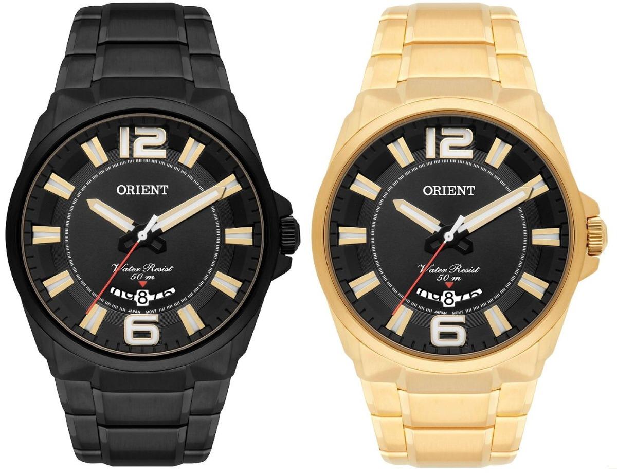 9ec51417fed kit 02 relógios masculinos orient preto e dourado aço inox. Carregando zoom.