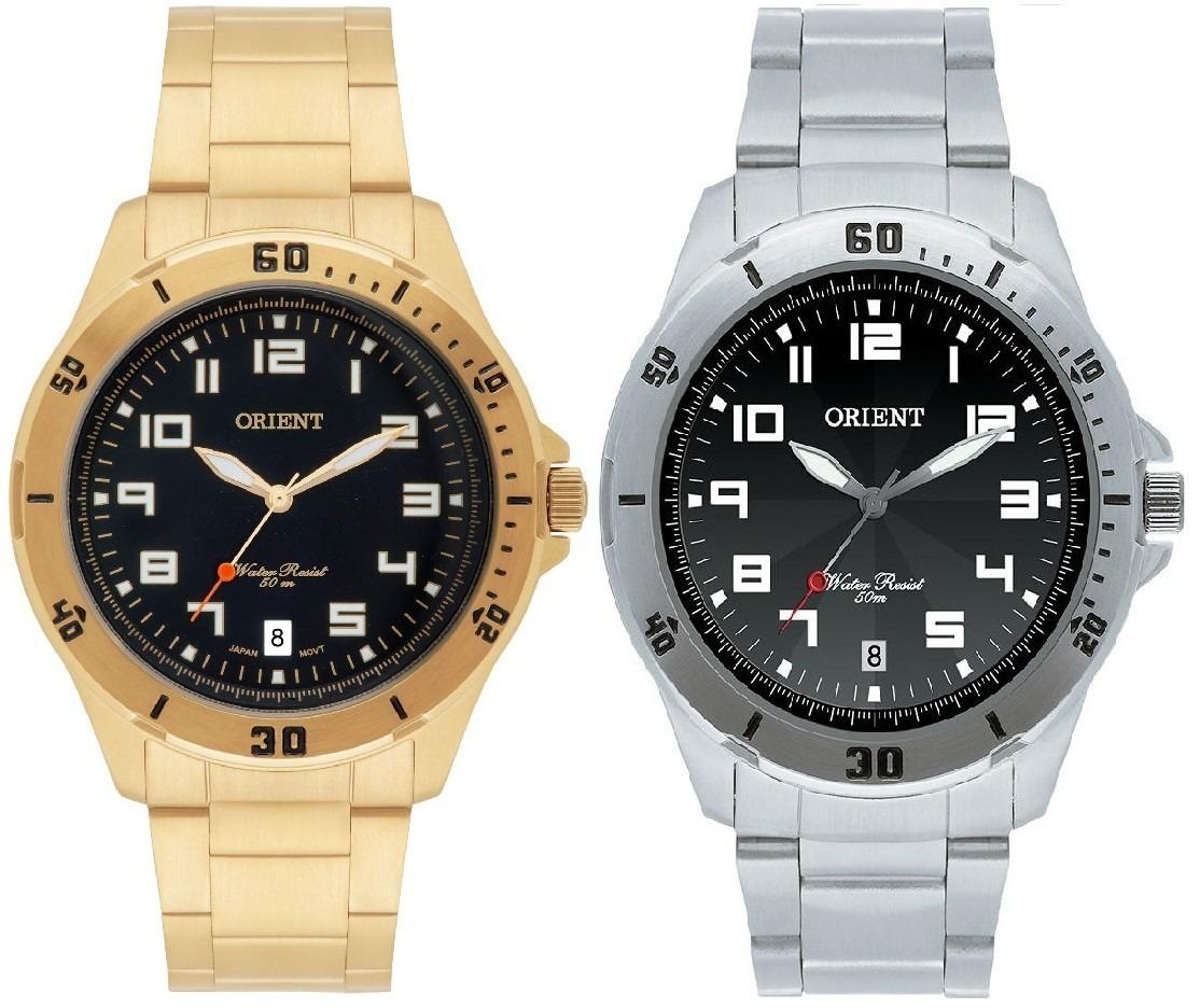 310ee457feb kit 02 relógios orient masculinos em aço inox sensacional! Carregando zoom.