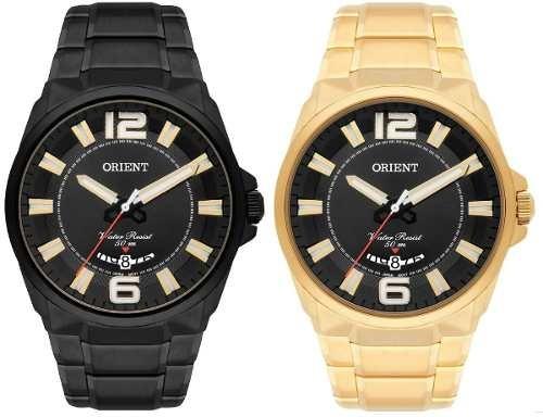 8574ac3ad82 Kit 02 Relógios Originais Orient Preto E Dourado Aço Inox - R  679 ...