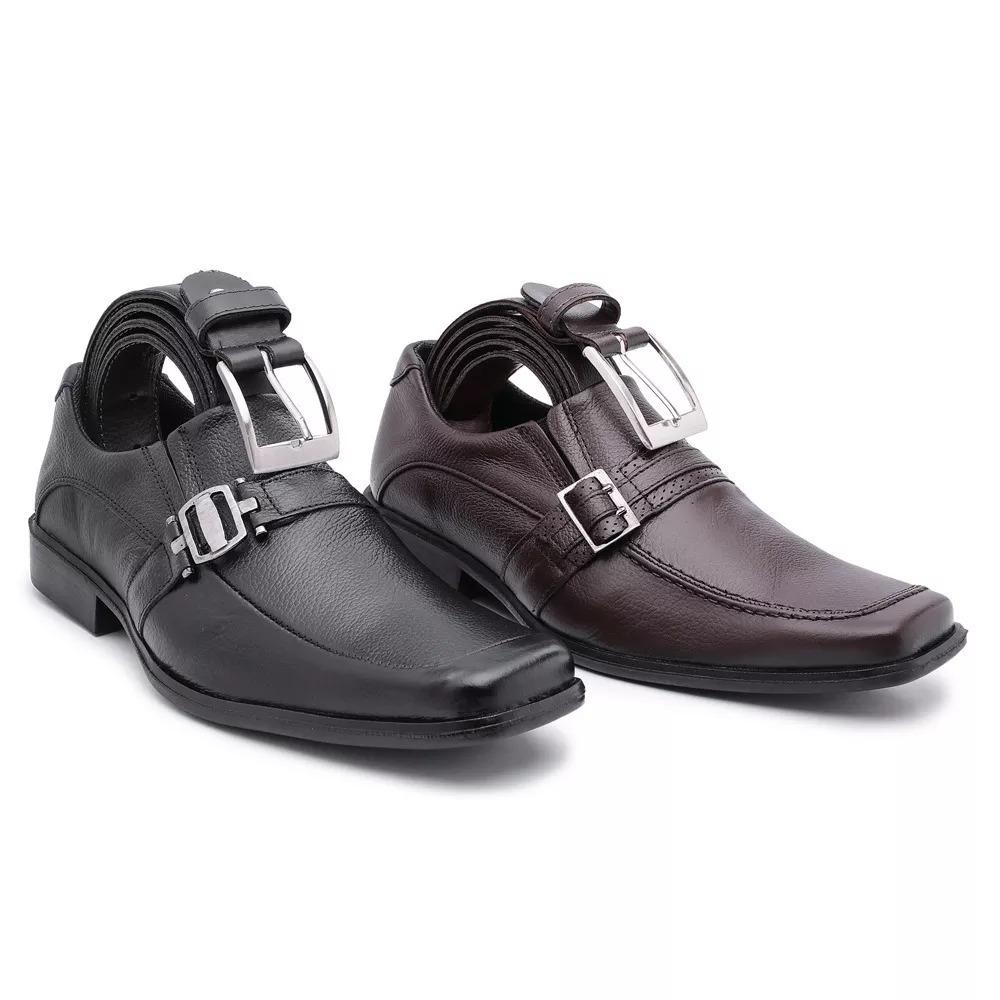 0497f1156 kit 02 sapato social couro legitimo solado costurado cintos. Carregando  zoom.