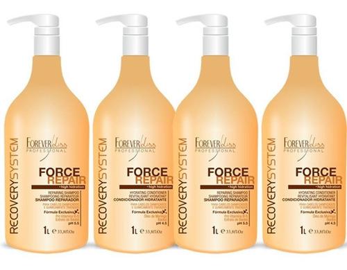 kit 02 shampoo e 02 condicionador force repair 1 litro