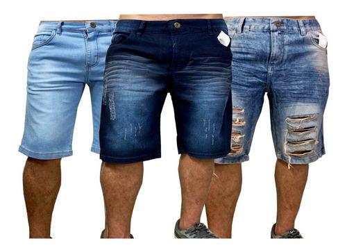 kit 02 shorts masculino jeans  colorido rasgado liso lycra
