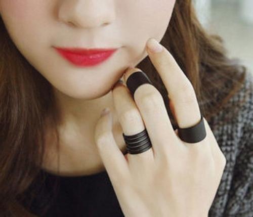kit 03 anéis estilosos cor preta - envio 24h - frete barato