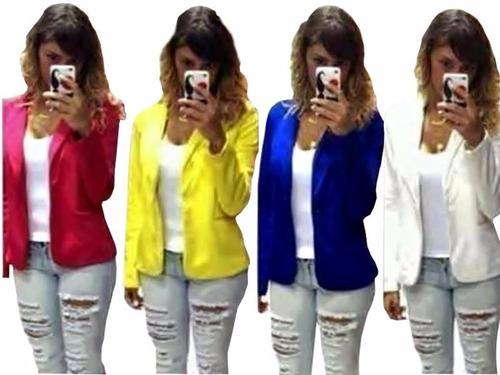 kit 03 blazer casaco jaqueta terninhos femininos coloridos