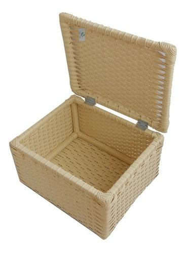 kit 03 caixas de fibra sintética creme 34x26x20