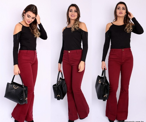 kit 03 calça flare jeans cintura alta hot pant girl feminina