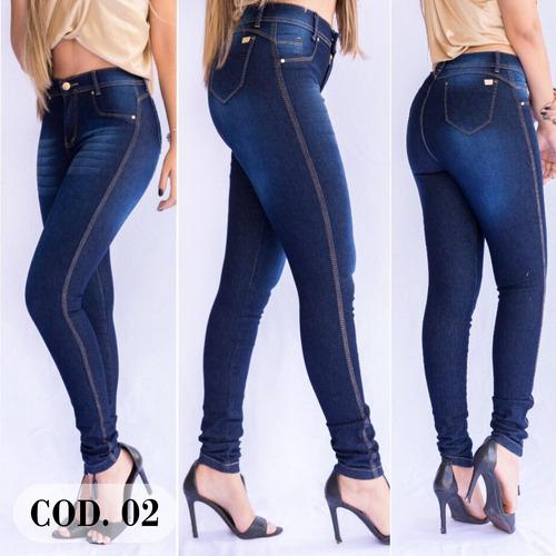 kit 03 calças jeans feminina cintura alta cos alto com lycra
