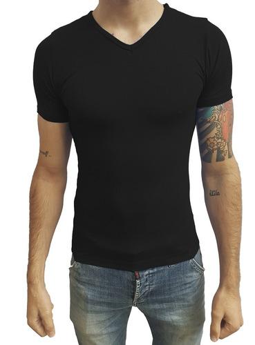 kit 03 camisas slim gola v em viés com elastano manga curta
