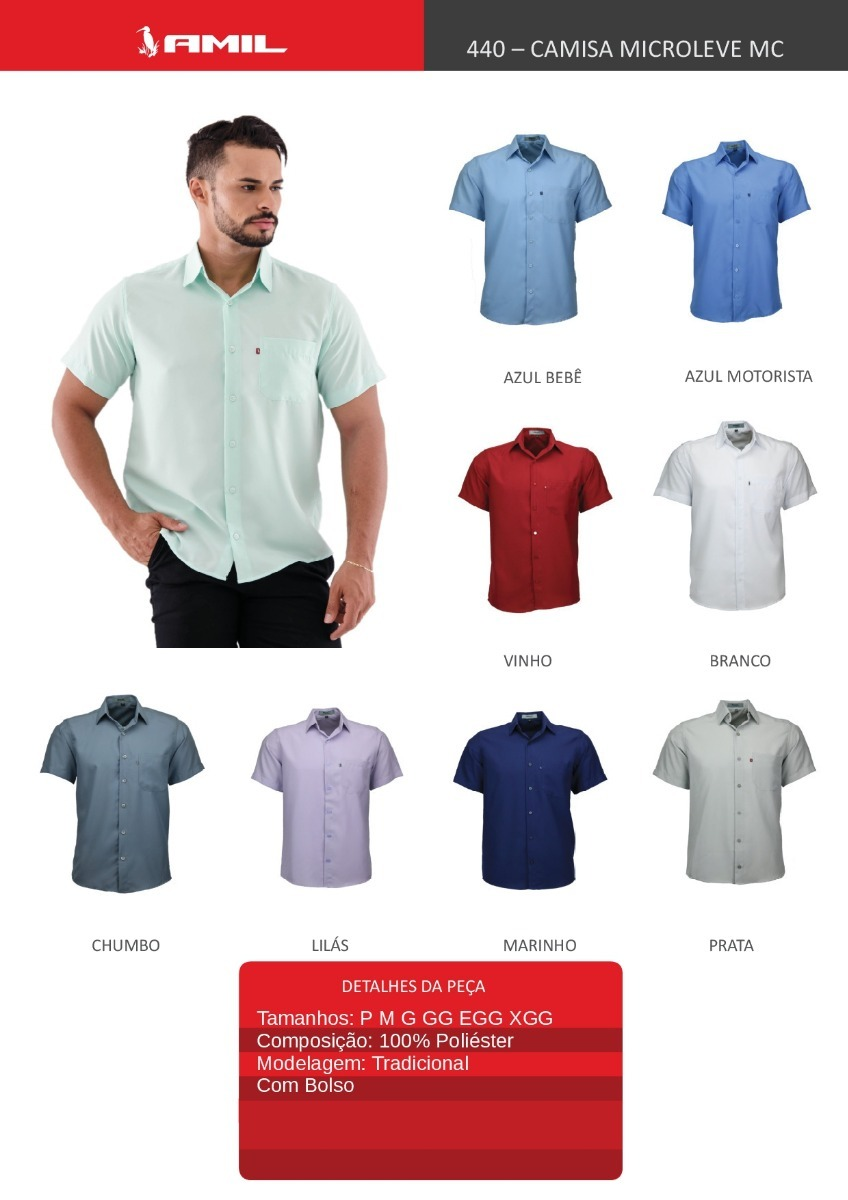 51f30cd9ae kit 03 camisas social manga curta micro leve lisa mc. Carregando zoom.