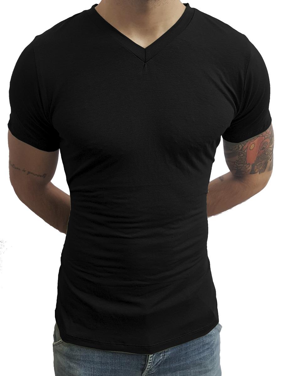 c98ae56e2 kit 03 camiseta masculina básica slim fit gola v rasinha mc. Carregando  zoom.