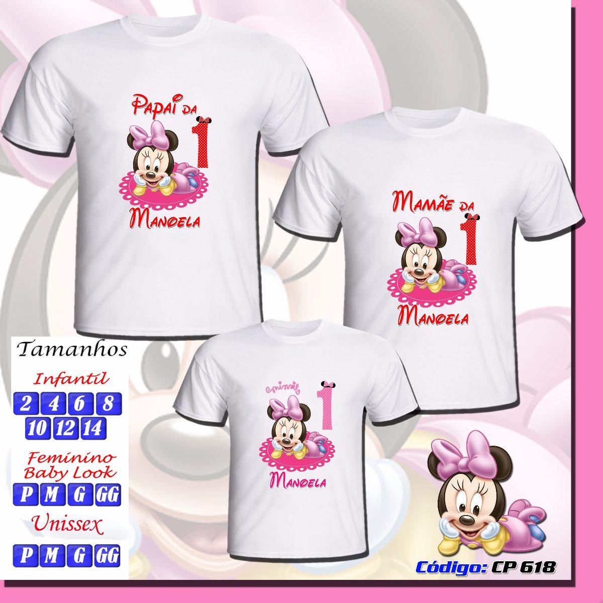 kit 03 camisetas infantil adulto personalizadas minnie. Carregando zoom. e22a5d51965