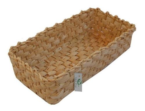 kit 03 cestos de palha de milho trama fechada 26x14x06