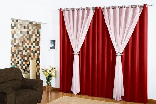 kit 03 cortinas salas quartos 3,00x2,80 vison voil clássica