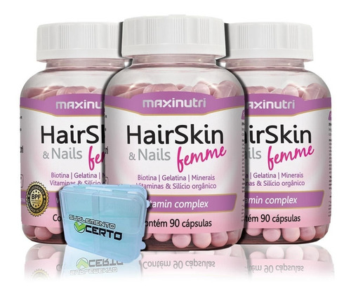 kit 03 hair skin & nails femme maxinutri - 90 cápsulas