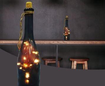 kit 03 luminária led decorativa garrafa fumê - taschibra