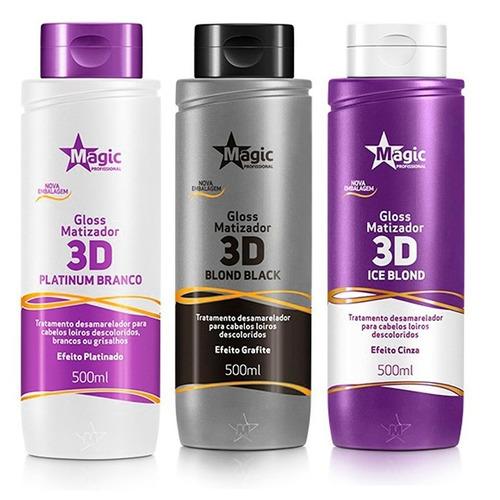 kit 03 magic color gloss matizador 3d - 3 x 500ml