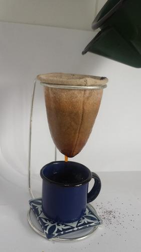 kit 03 mini coadores pano café + refil + 03 canecas 150 ml