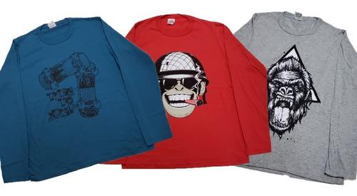 kit 03 peças camisa juvenil manga longa de algodão oferta