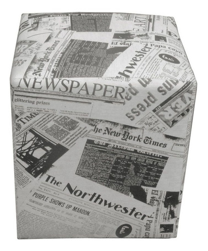 kit 03 puff puf dado quadrado decorativo jornal closset sala