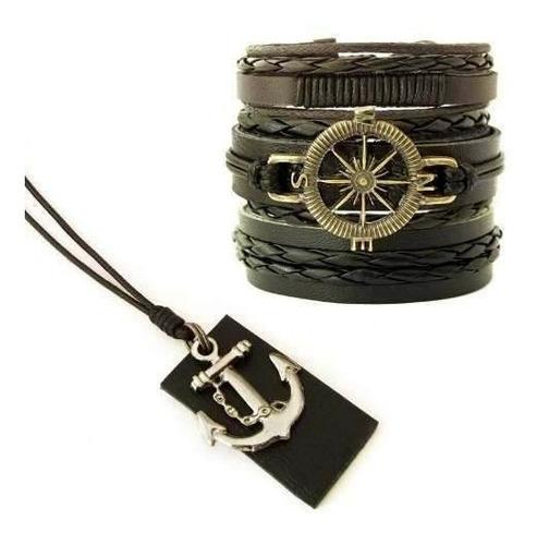kit 03 pulseiras masculinas couro legítimo + colar âncora
