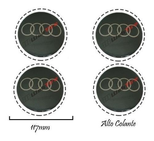 kit 04 emblemas roda esportiva 117mm resinado audi + brinde!