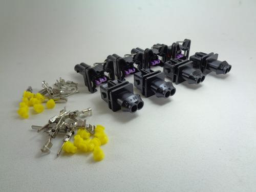 kit 04 machos + 04 fêmeas conector do bico injetor e sensor