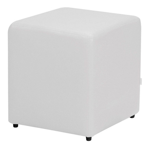 kit 04 puffs quadrado decorativo sala sofá banco corino bco