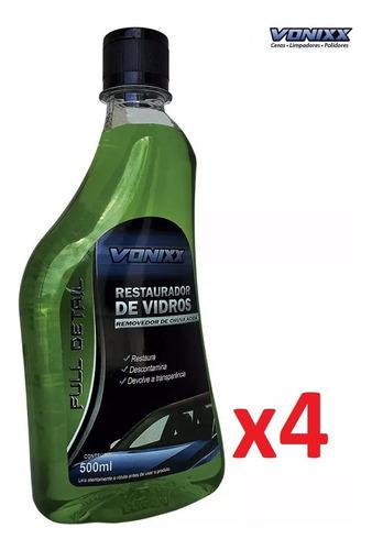 kit 04 restaurador vidros 500ml vonixx chuva ácida removedor