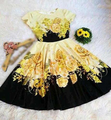 kit 04 vestido gode floral estampados revenda moda gospel