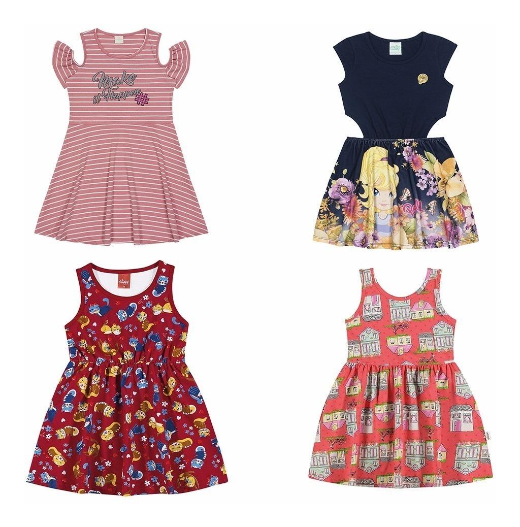 Kit 04 Vestidos Menina Festa Qualidade Verão 04 A 10 Anos