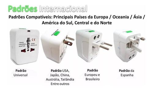 kit 05 adaptador tomada universal internacional eua europa