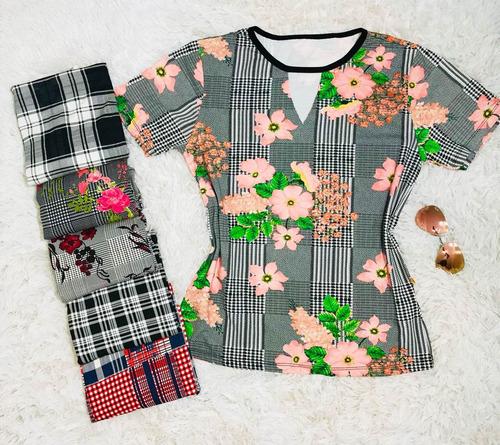 kit 05 blusas t-shirt estampada choker flor pompom blogueira