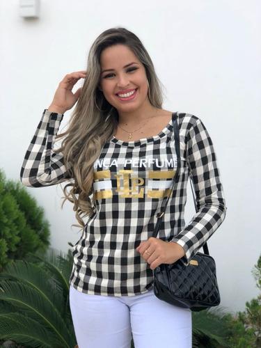 kit 05 blusas t-shirt estampada choker onça xadrez longline