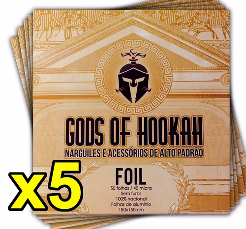 kit 05 caixas papel alumínio para narguile - gods of hookah