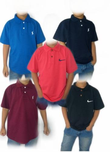 Kit 05 Camisa Polo Masculina Infantil Camiseta De Gola - R  105 535f3ba6a89c5