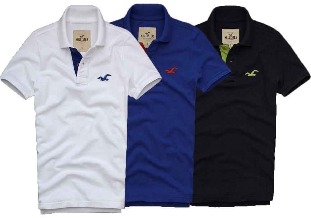 382434843 Kit 05 Camisas Gola Polo Hollister Masculina No Atacado - R  134