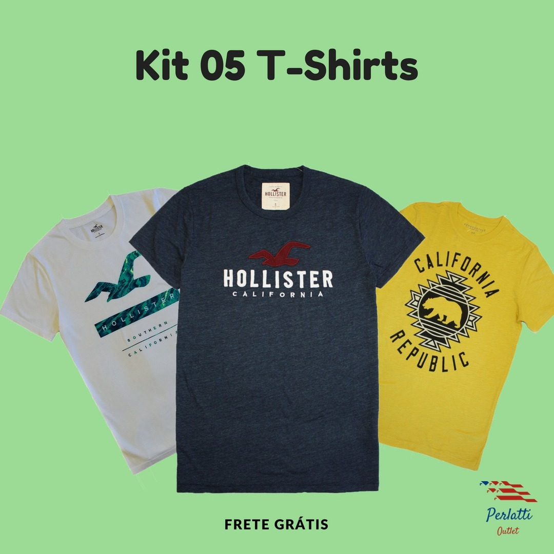 599c6840cda Anúncio pausado. kit 05 camisetas hollister - abercrombie. Carregando  zoom. 49818ea558f