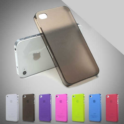 kit 05 capa acrílico transparente apple iphone 5 5s cores