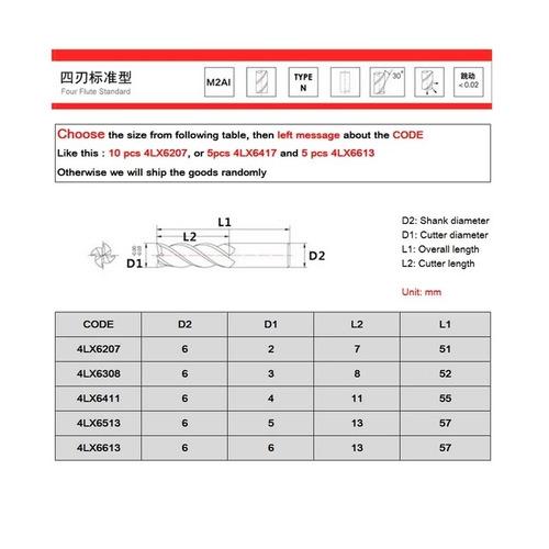 kit 05 fresas topo hss-4 cortes 2-3-4-5-6mm