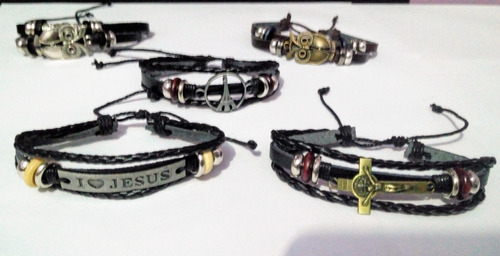 kit 05 pulseira bracelete masculino feminino promoção