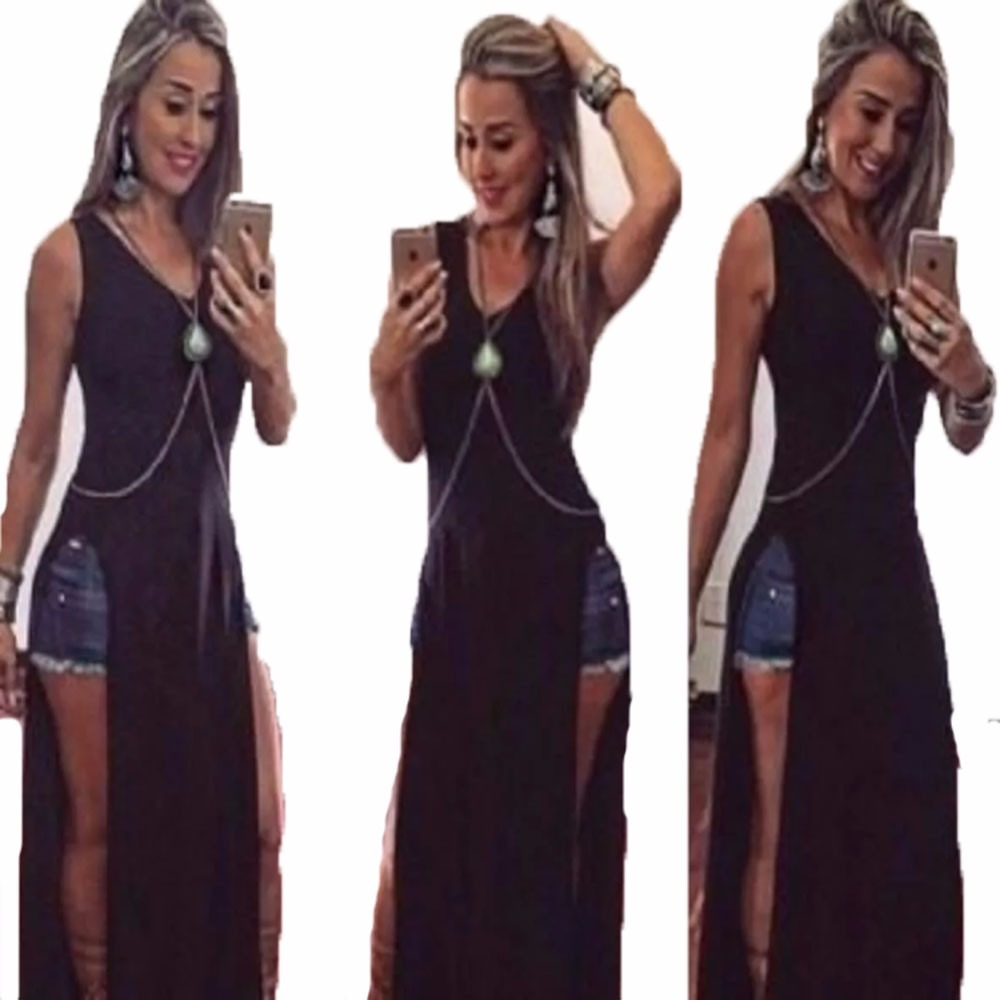 e14a8f5ed kit 05 roupas femininas blusa vestido longo maxi fenda. Carregando zoom.