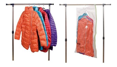 kit 05 sacos à vácuo com cabide organizador protetor roupas viagem 150x70cm
